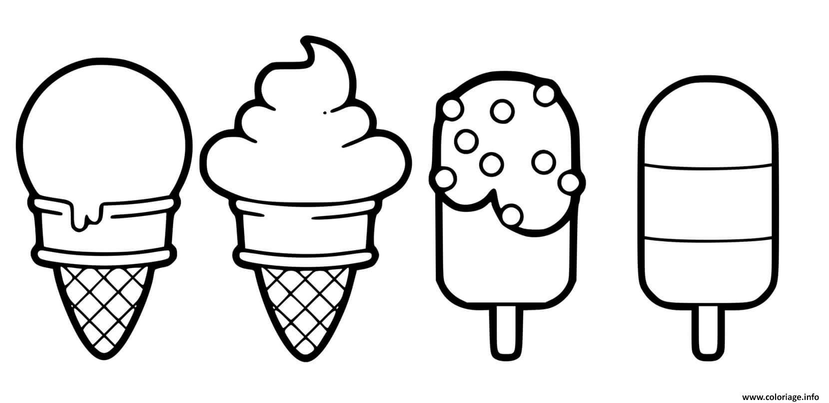 Dessin glaces kawaii tout genre chocolat fraise vanille Coloriage Gratuit à Imprimer