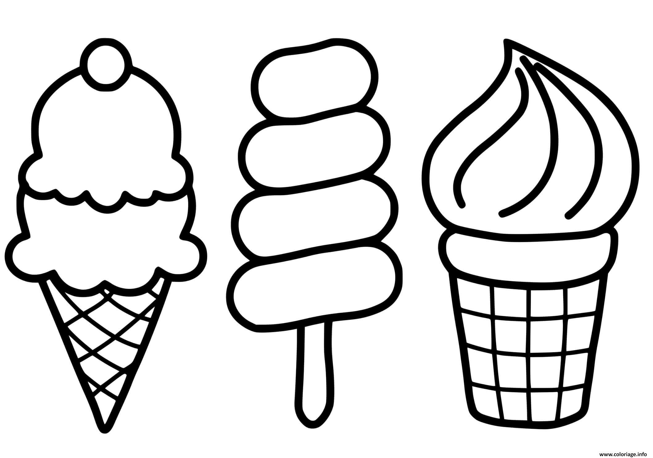 Dessin trois saveurs de glaces pour enfants Coloriage Gratuit à Imprimer