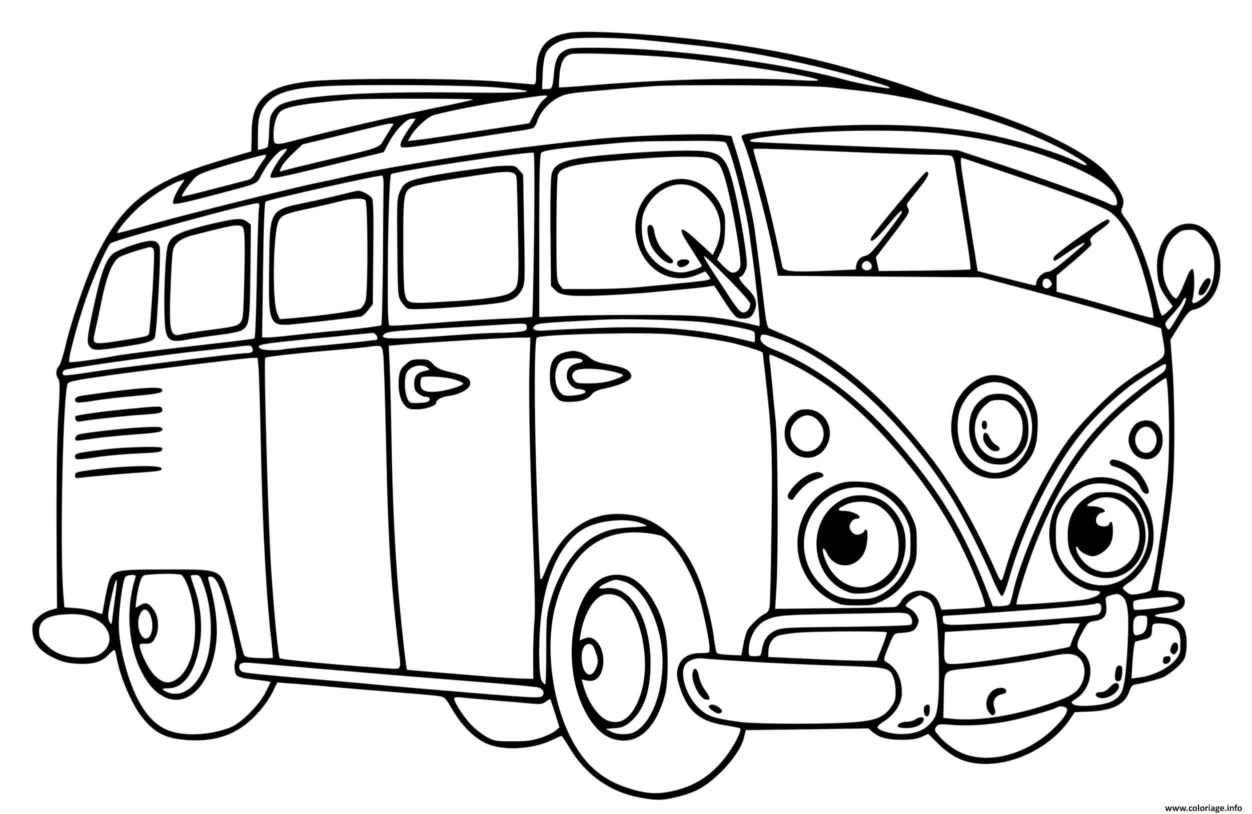 Dessin mini bus volkswagen Coloriage Gratuit à Imprimer