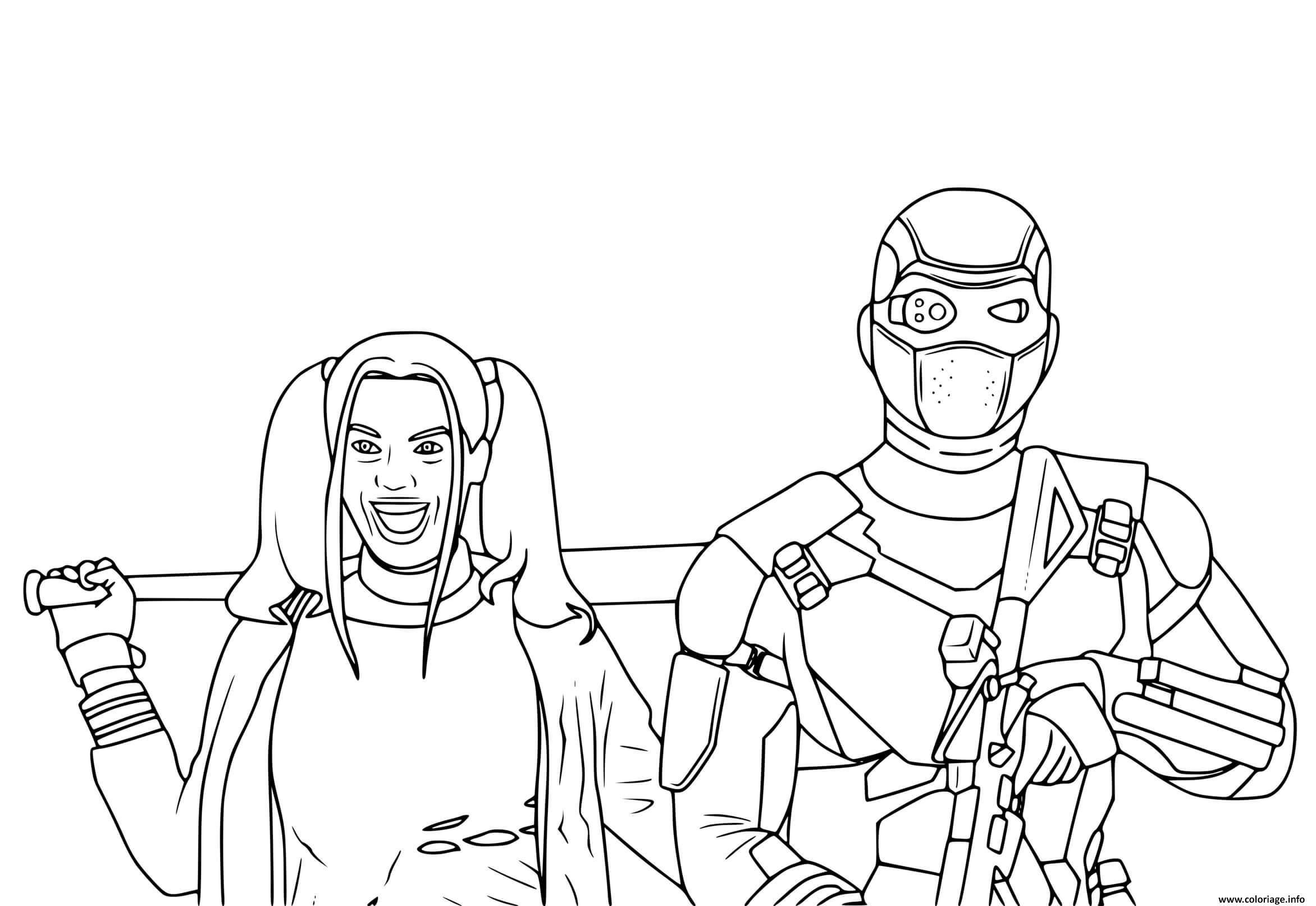Dessin Deadshot et Harley Quinn du film Suicide Squad Coloriage Gratuit à Imprimer