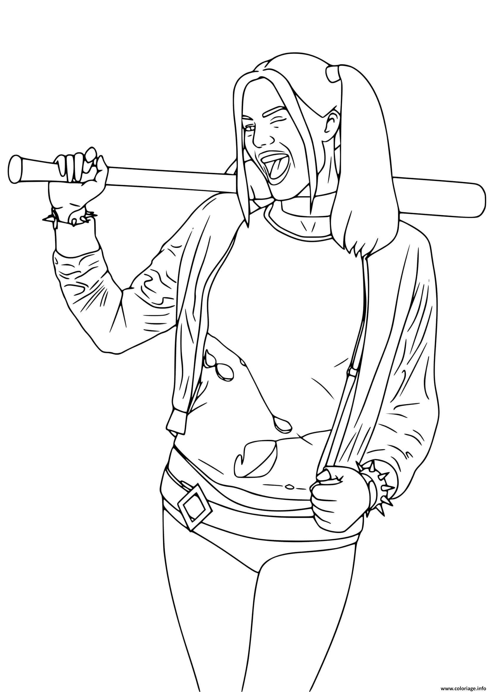 Dessin Harley Quinn de Suicide Squad avec baton de baseball Coloriage Gratuit à Imprimer