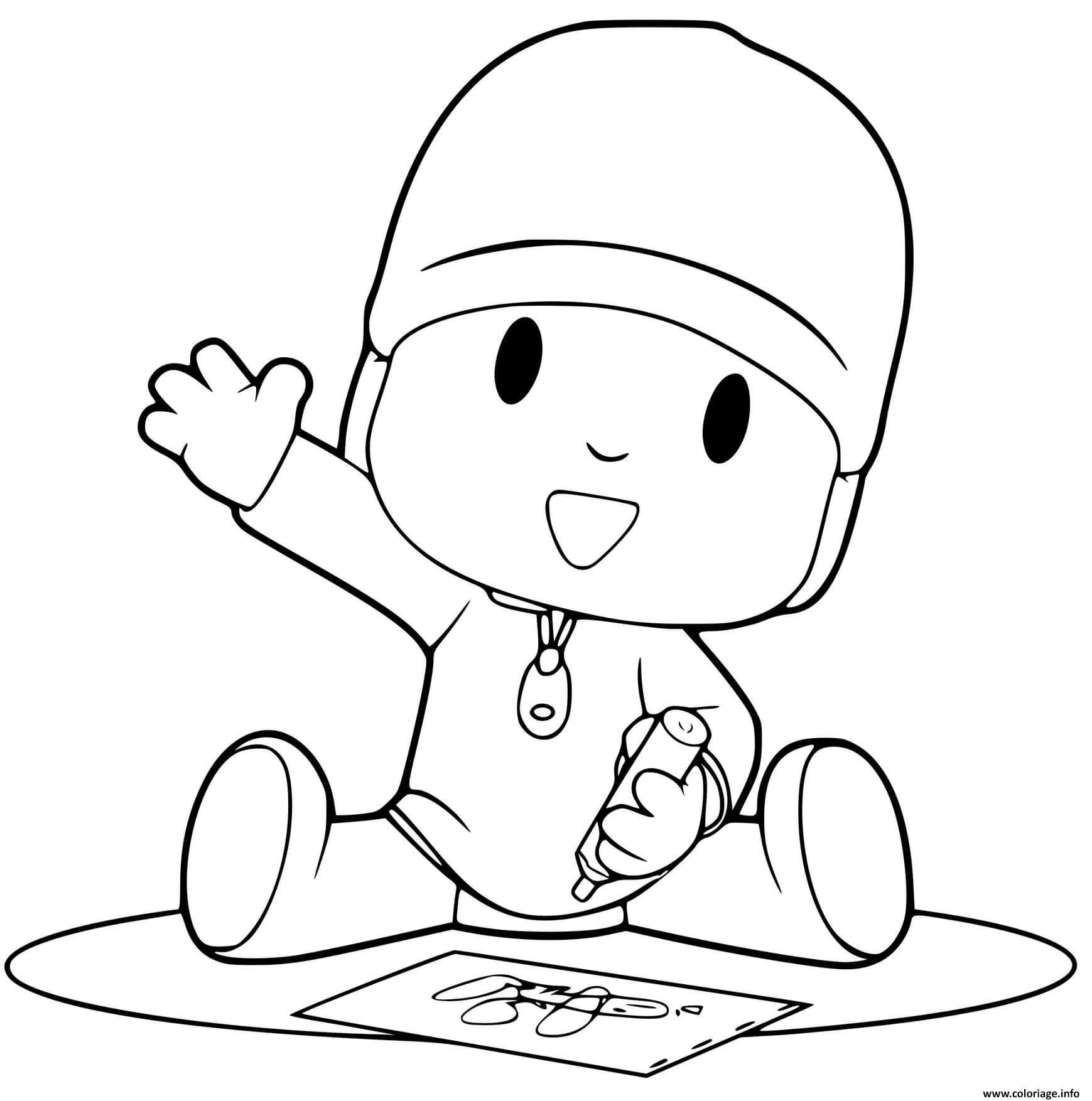 Dessin pocoyo fait des dessins Coloriage Gratuit à Imprimer