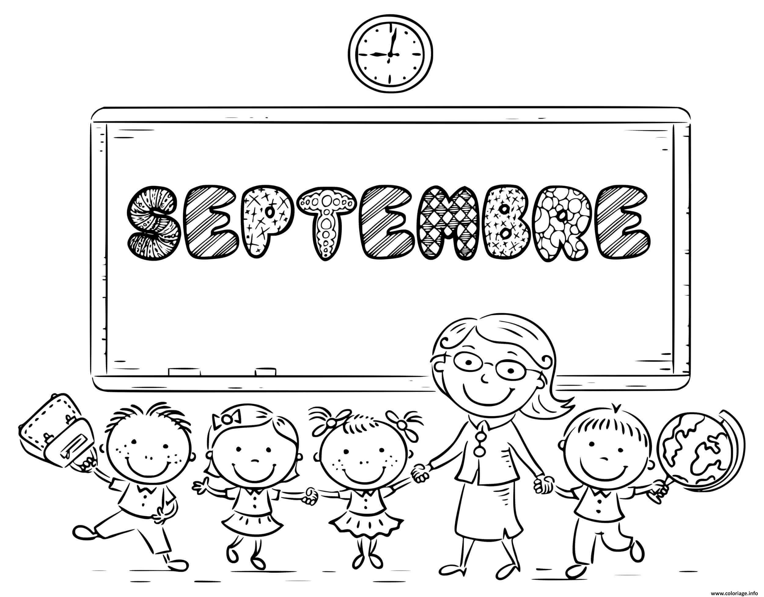 Dessin septembre ecole classe maternelle scolaire Coloriage Gratuit à Imprimer