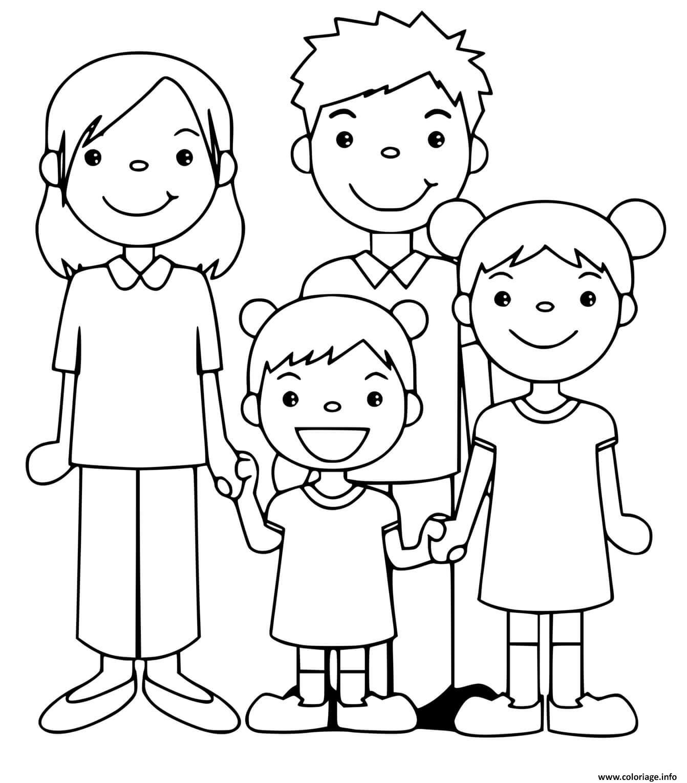 Dessin famille enfants parents papa mama Coloriage Gratuit à Imprimer