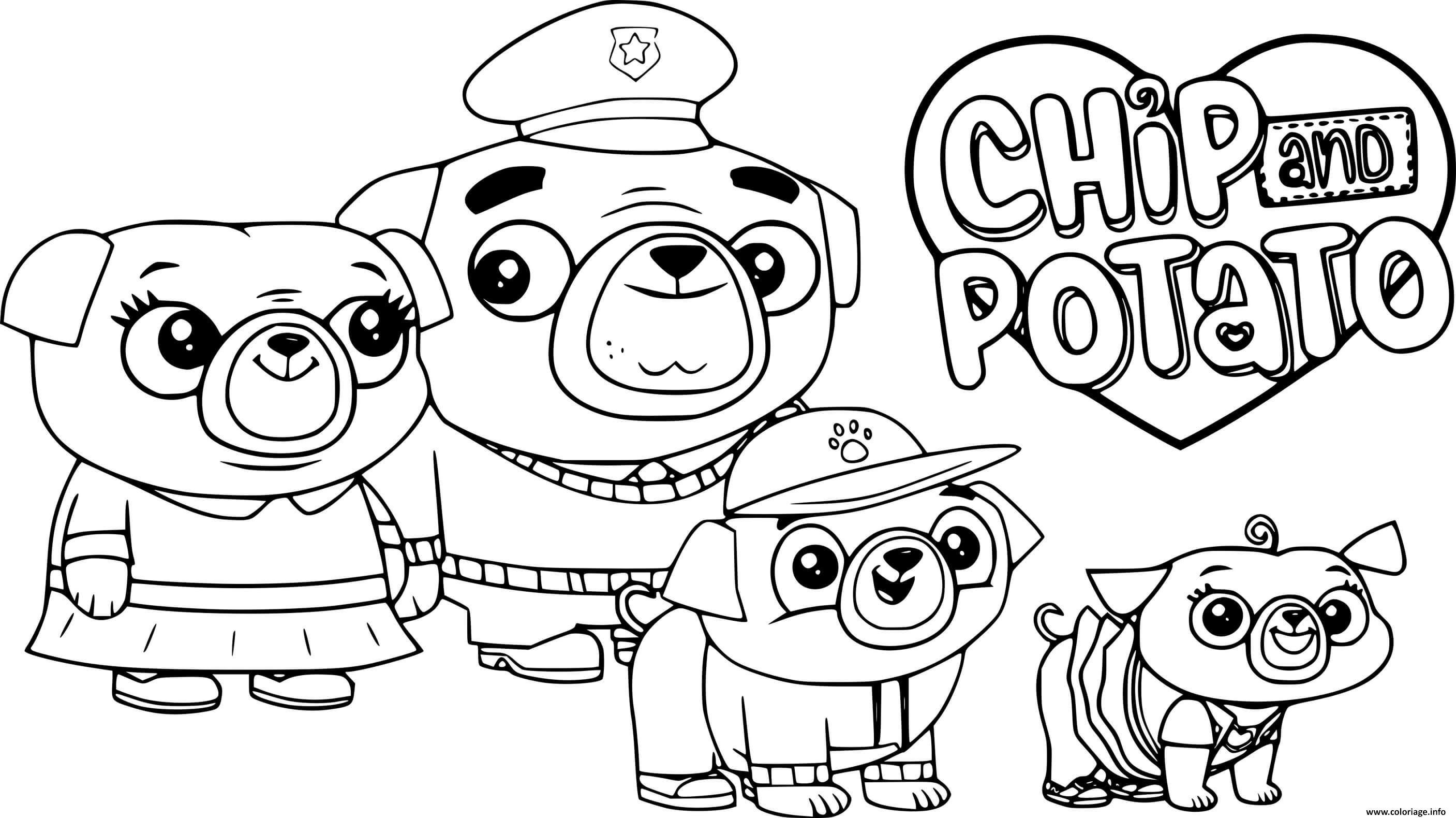 Dessin Chip Pug Family Coloriage Gratuit à Imprimer