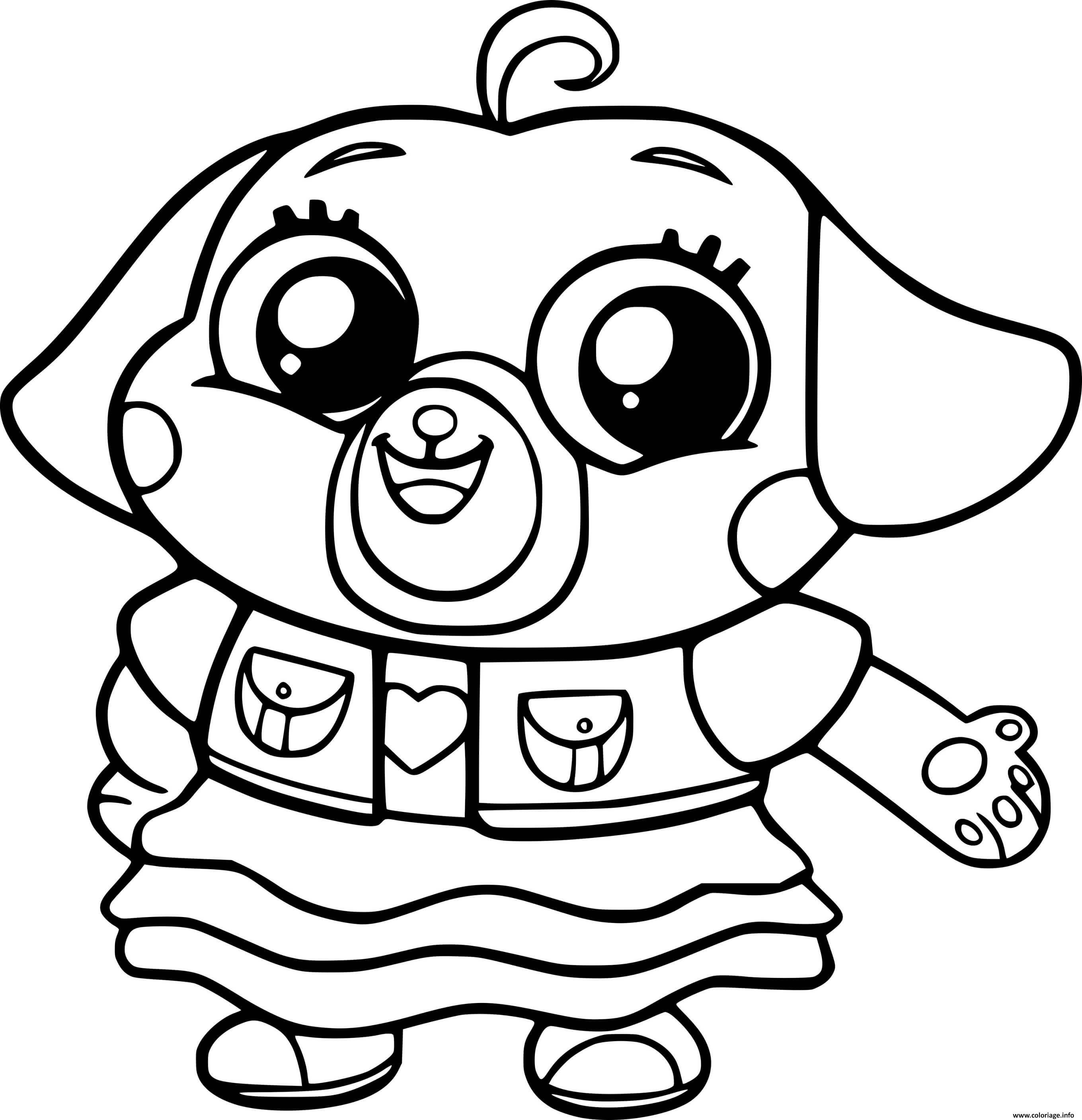 Dessin Cute Chip Pug Coloriage Gratuit à Imprimer