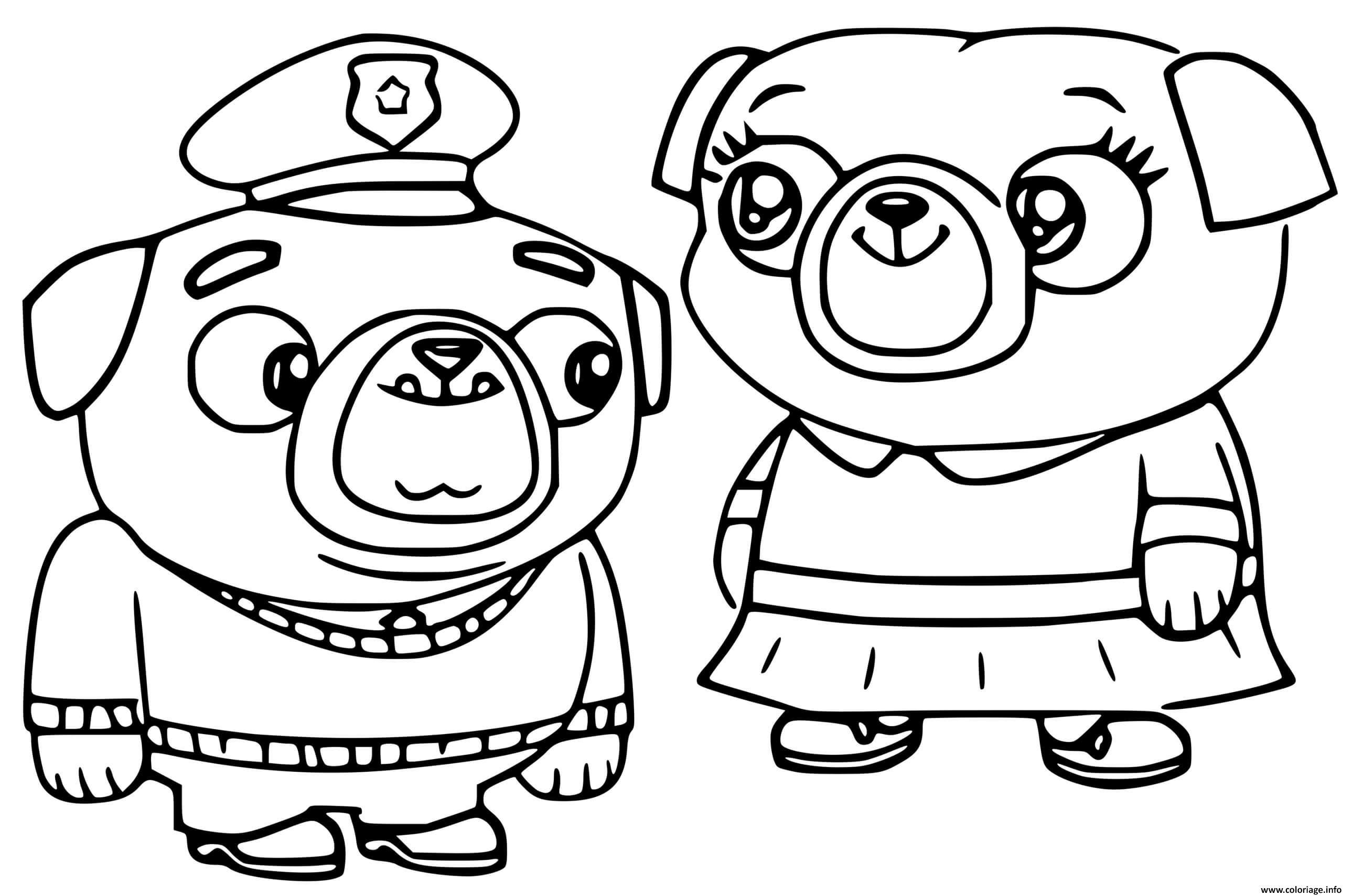 Dessin chip et patate little momma pug et little poppa pug les parents de chip Coloriage Gratuit à Imprimer