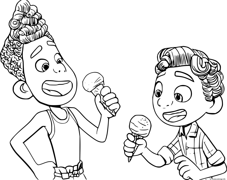 Dessin Alberto and Luca Eating Ice Cream Coloriage Gratuit à Imprimer