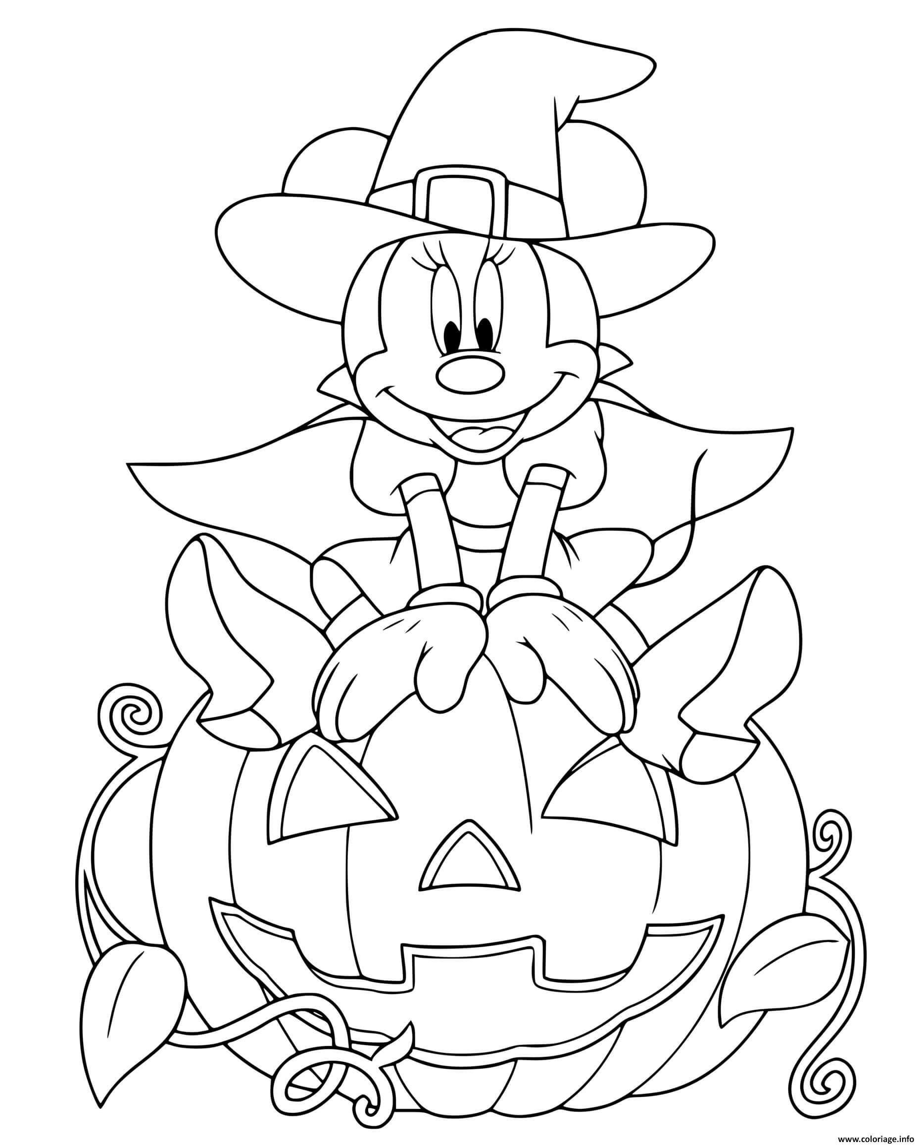 Dessin minnie mouse sorciere sur une citrouille Coloriage Gratuit à Imprimer