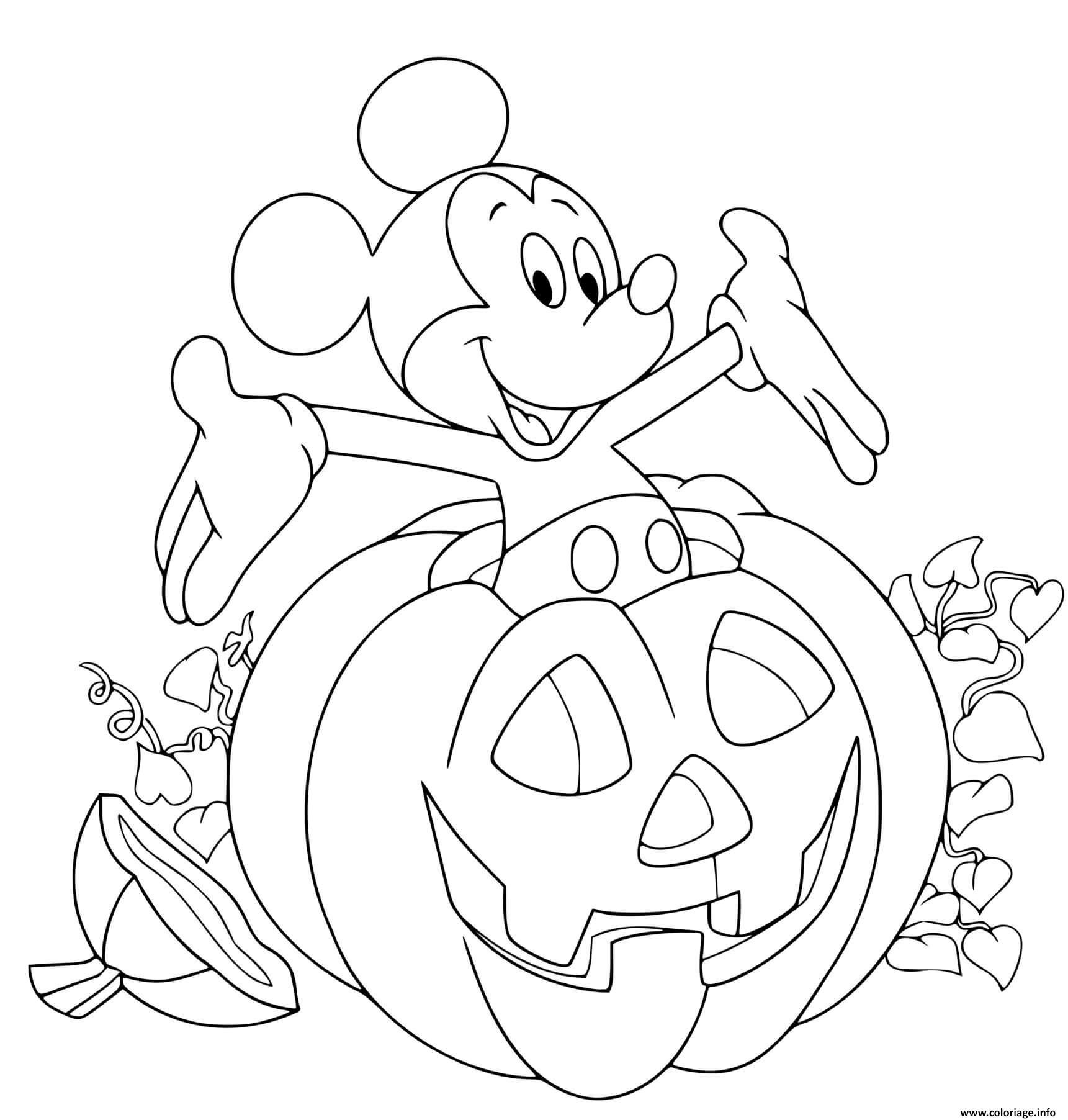 Dessin mickey mouse dans une citrouille Coloriage Gratuit à Imprimer