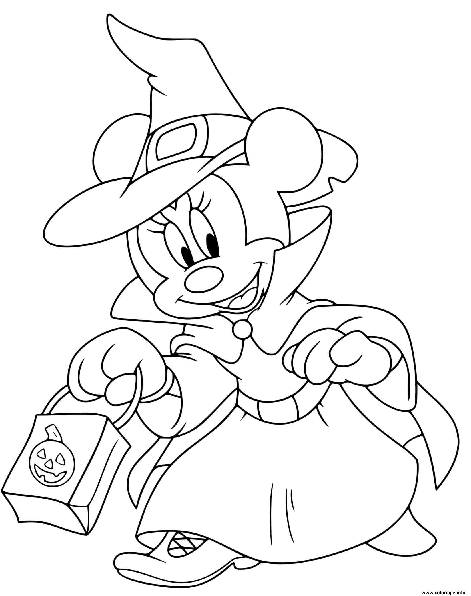 Dessin minnie mouse sorciere avec sac de friandises Coloriage Gratuit à Imprimer