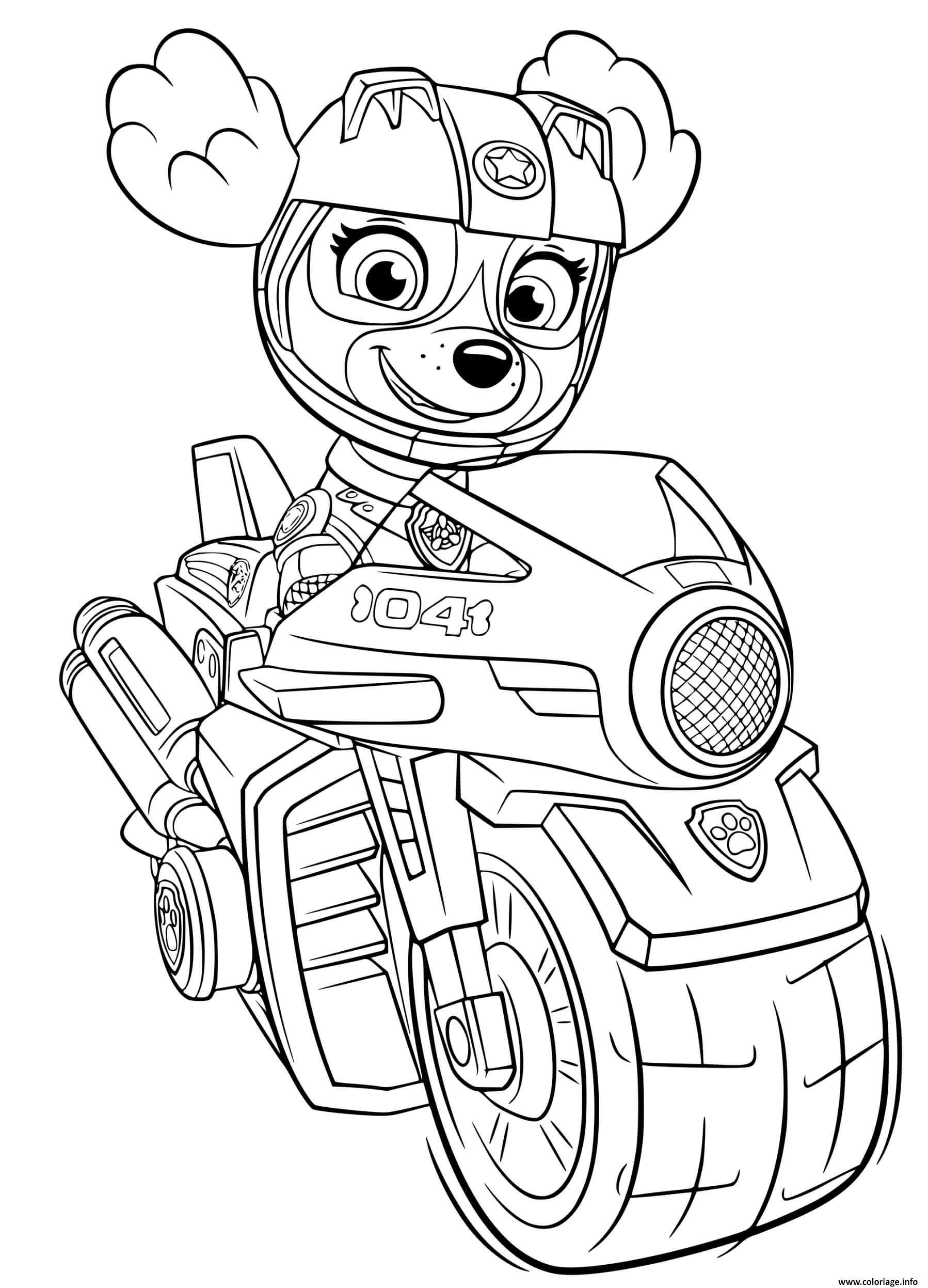 Dessin stella moto rapide sky moto pups Coloriage Gratuit à Imprimer