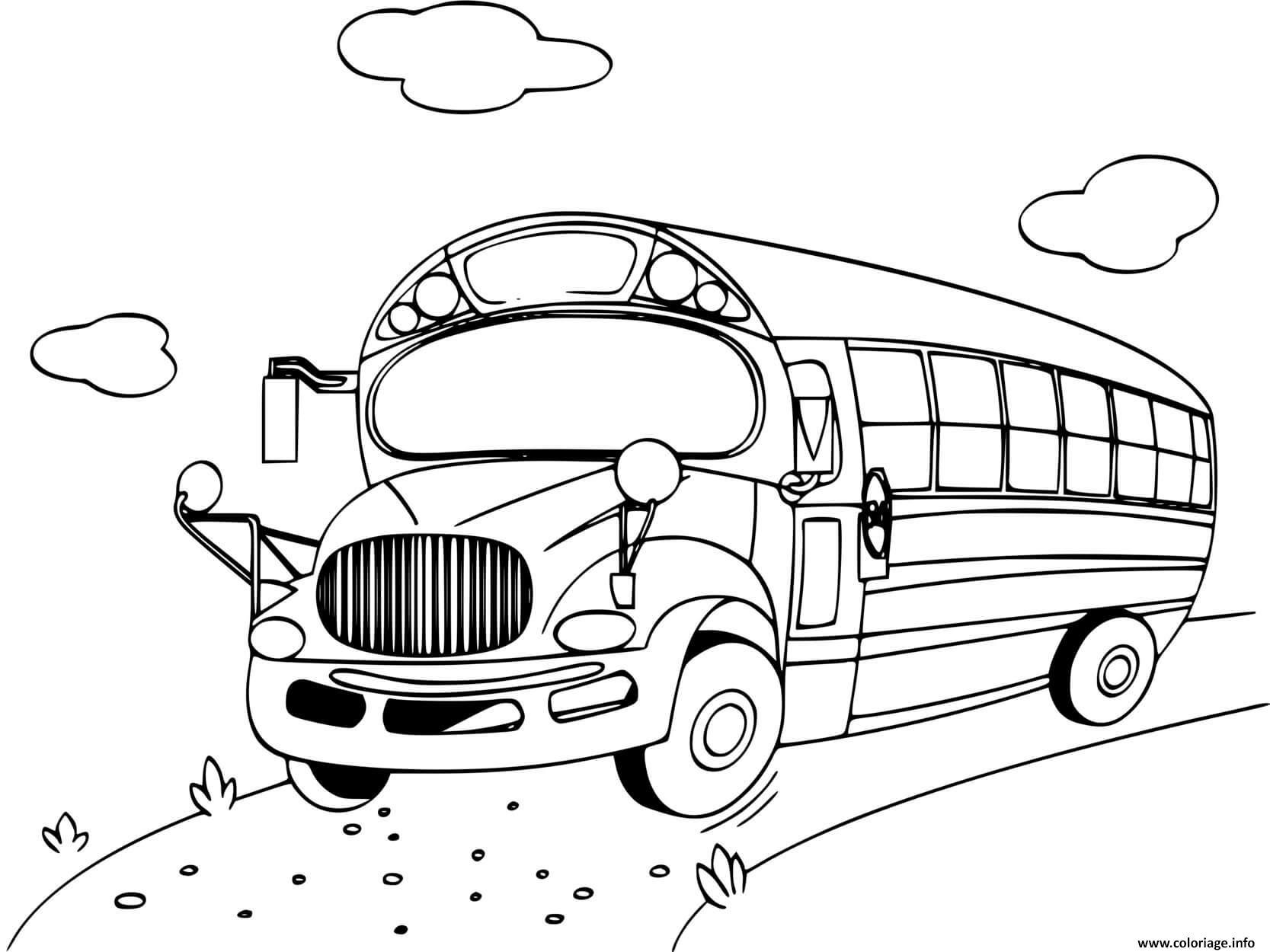 Dessin rentree scolaire le bus pour l ecole Coloriage Gratuit à Imprimer