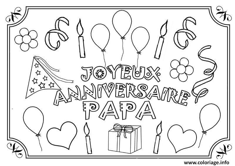 Dessin joyeux anniversaire papa fete des peres Coloriage Gratuit à Imprimer