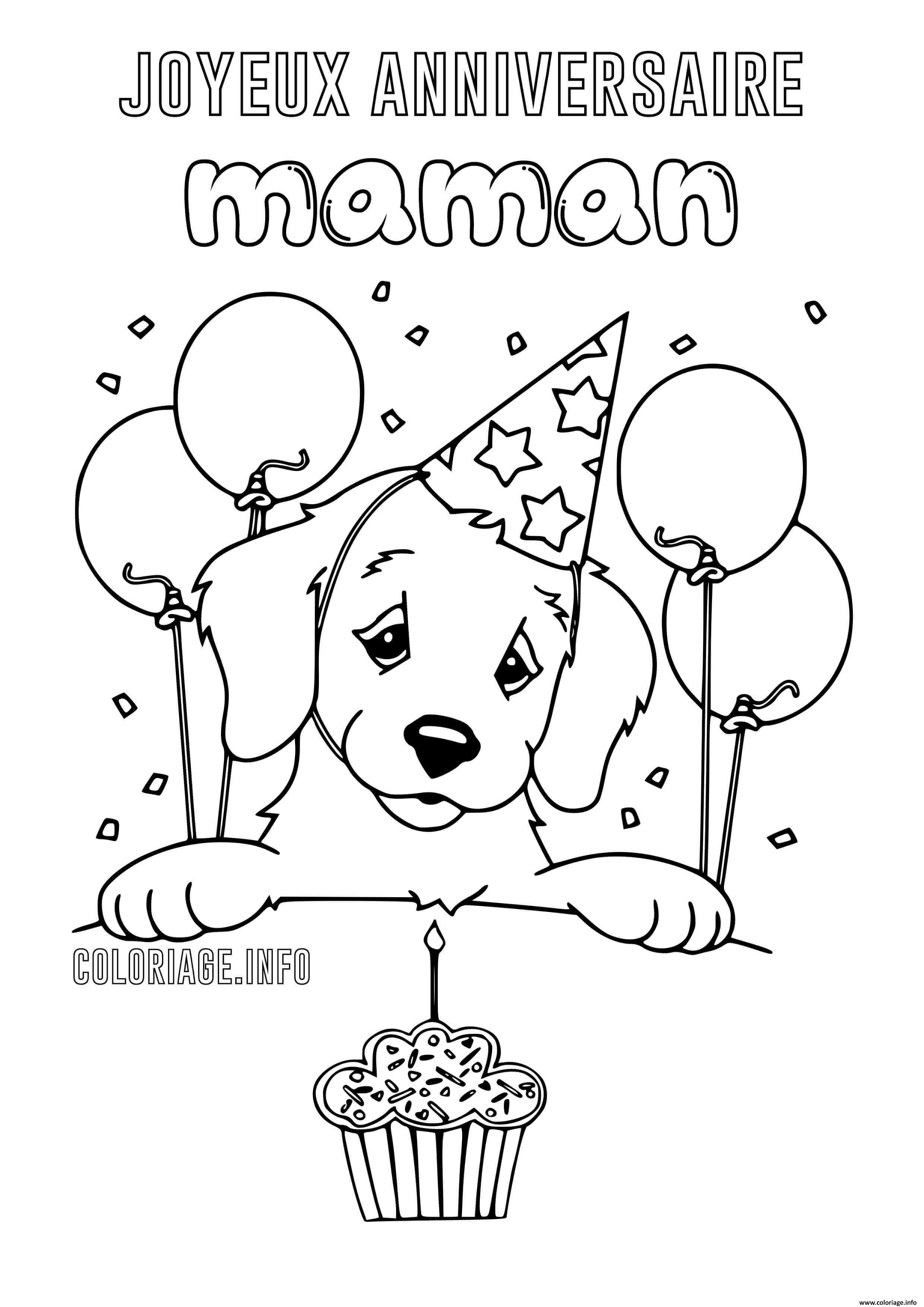 Dessin joyeux anniversaire maman chien Coloriage Gratuit à Imprimer