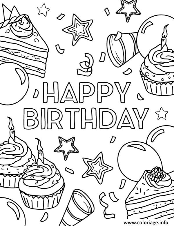 Dessin joyeux anniversaire Coloriage Gratuit à Imprimer