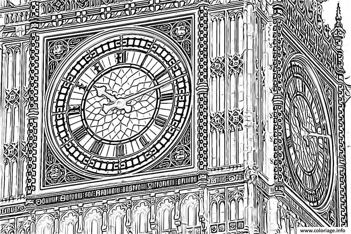 Dessin big ben horloge au sommet de la tour elisabeth Coloriage Gratuit à Imprimer