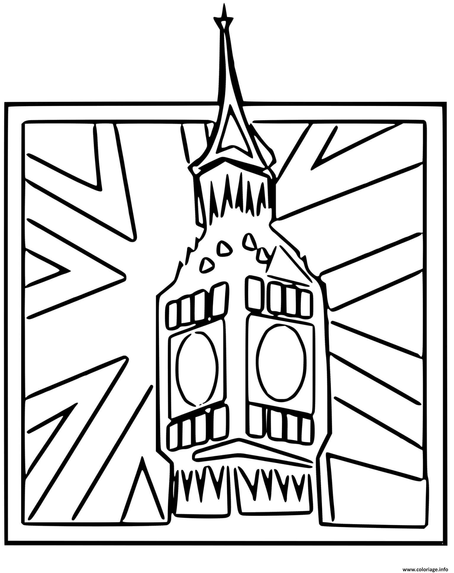 Dessin Big Ben Angleterre Horloge drapeau anglais Coloriage Gratuit à Imprimer