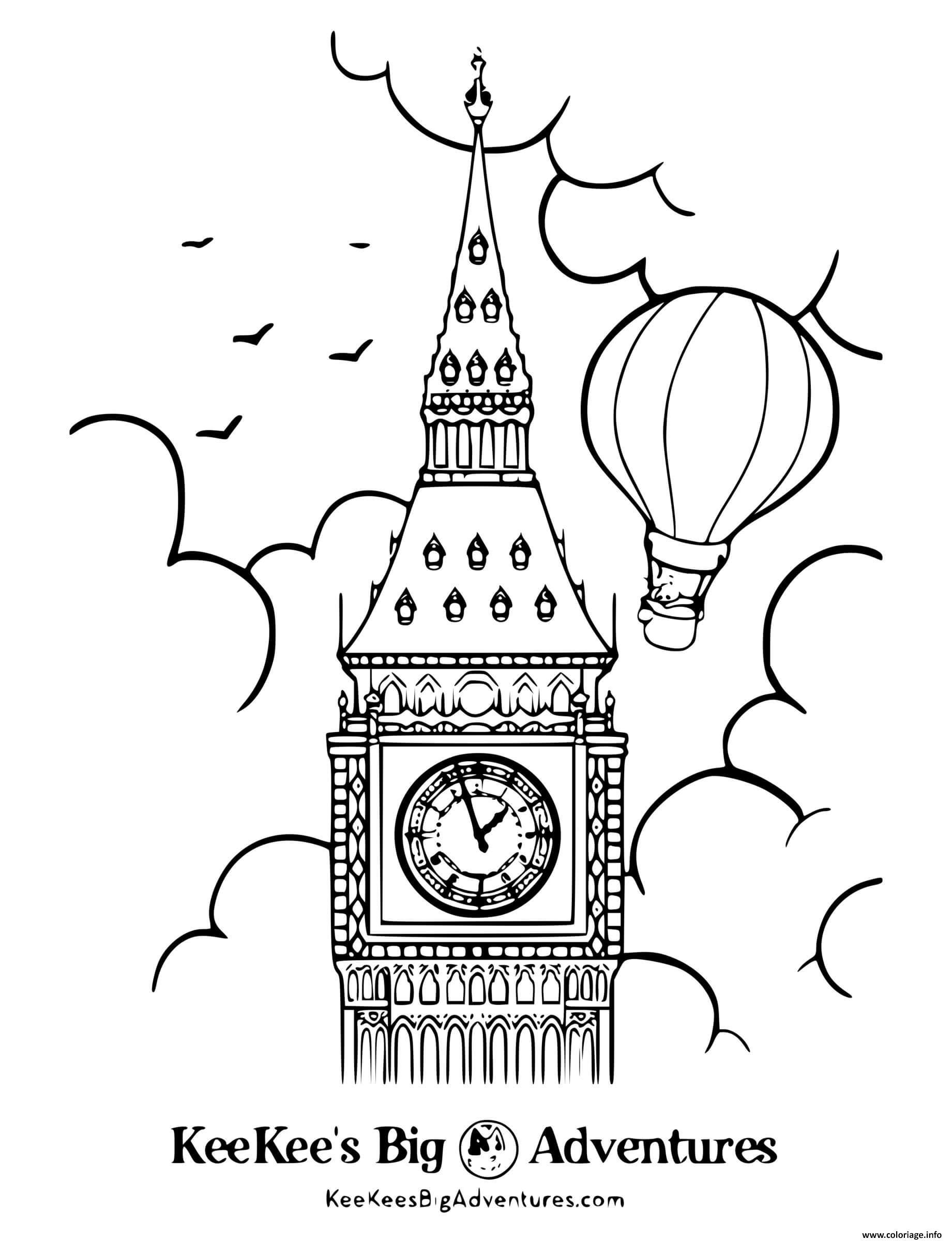 Dessin big ben horloge monument anglais Coloriage Gratuit à Imprimer