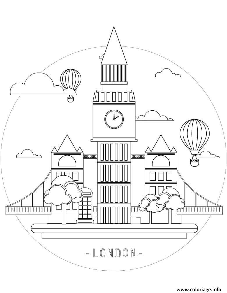 Dessin Simple Big Ben Tour elisabeth au Royaume Uni Coloriage Gratuit à Imprimer