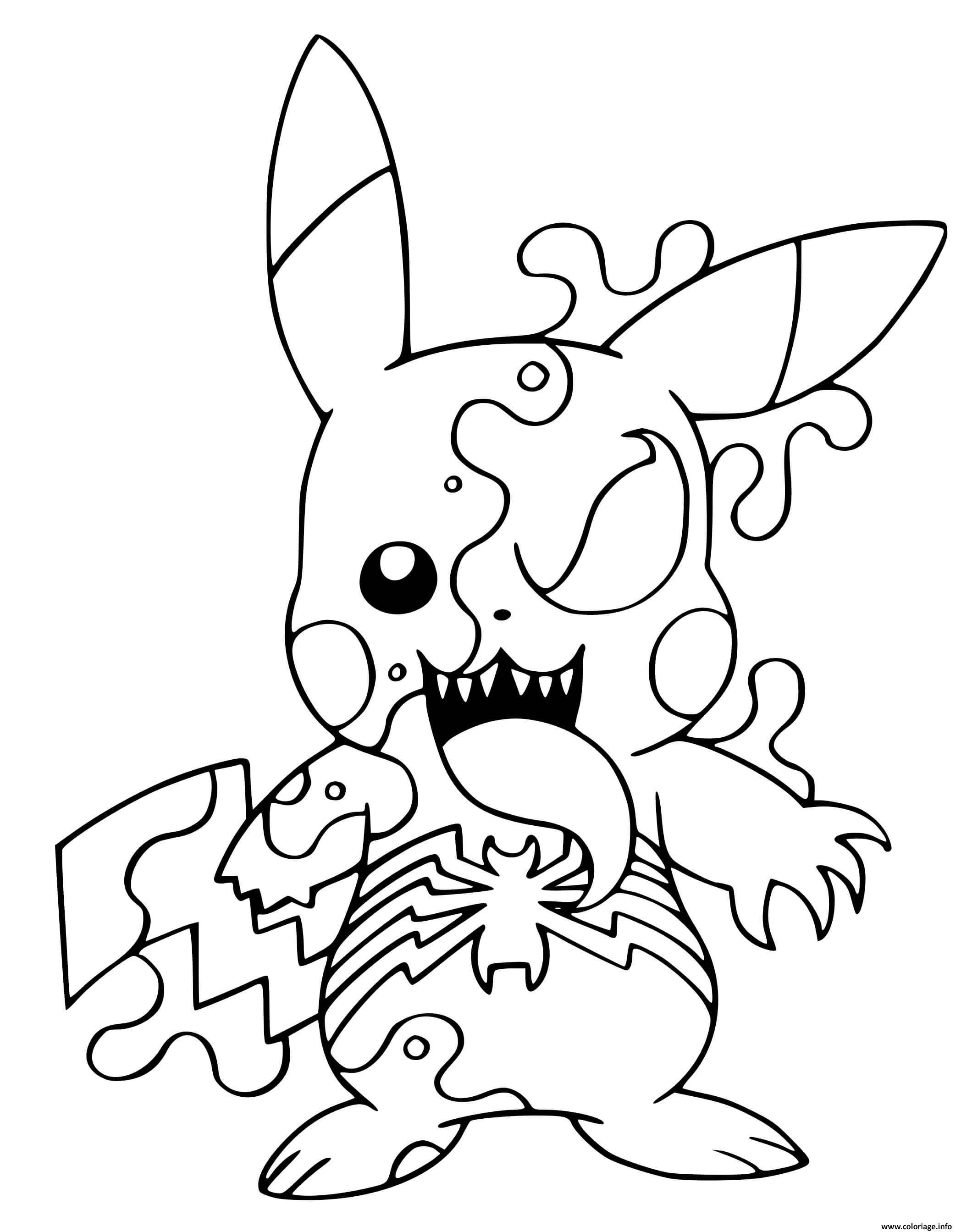 Dessin fusion venom pikachu pokemon Coloriage Gratuit à Imprimer