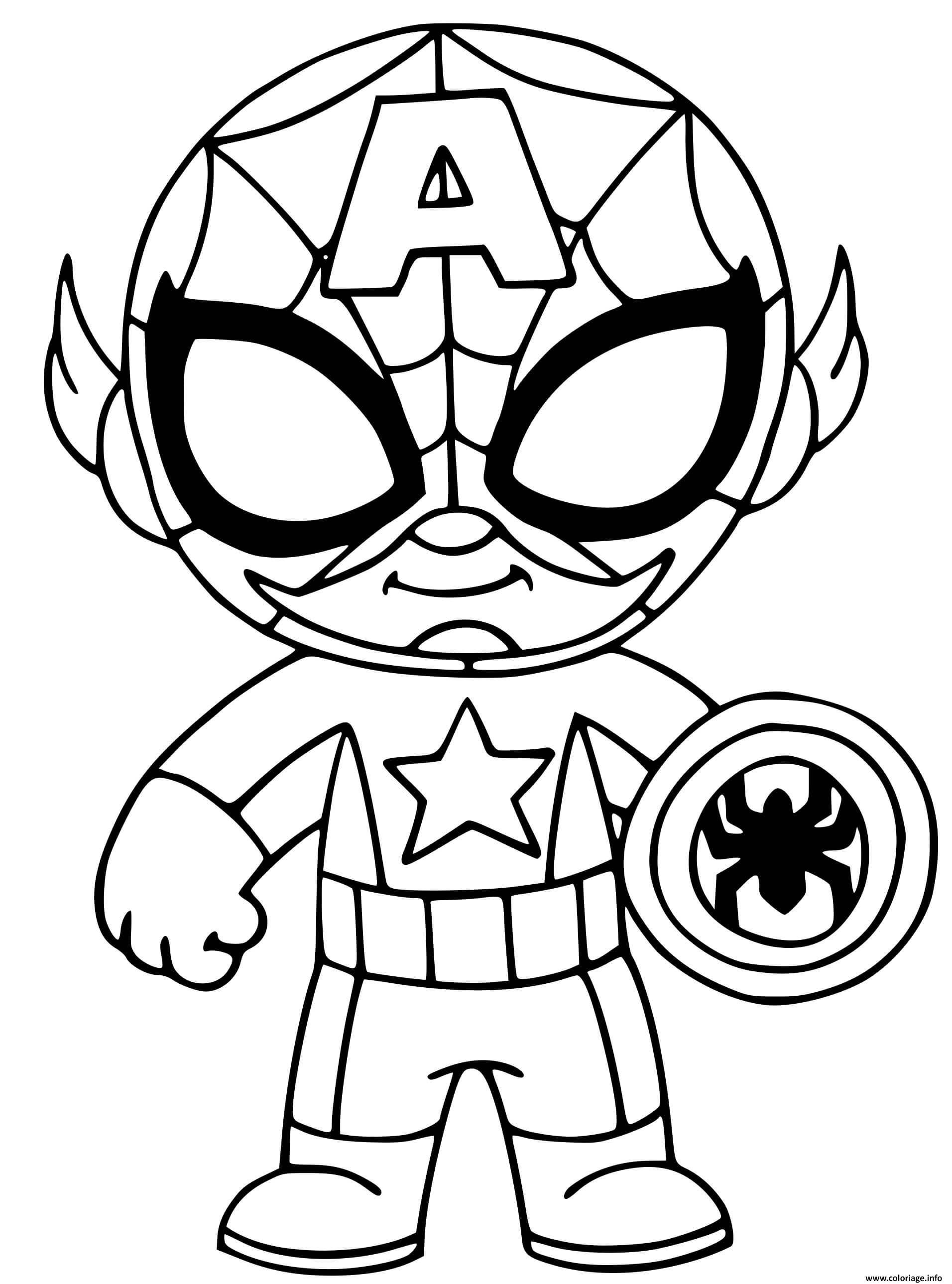 Dessin fusion de captain america et spider man Coloriage Gratuit à Imprimer