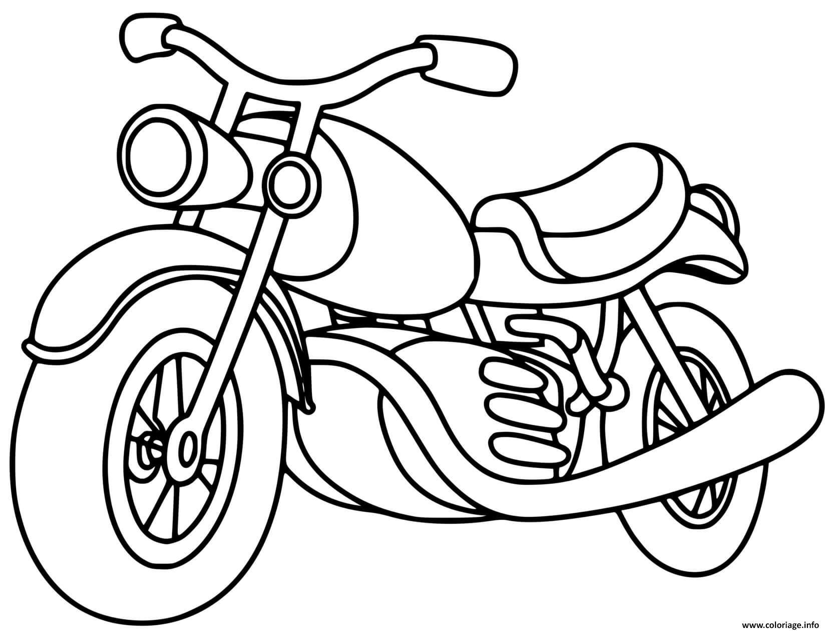 Dessin moto classique motorcycle Coloriage Gratuit à Imprimer