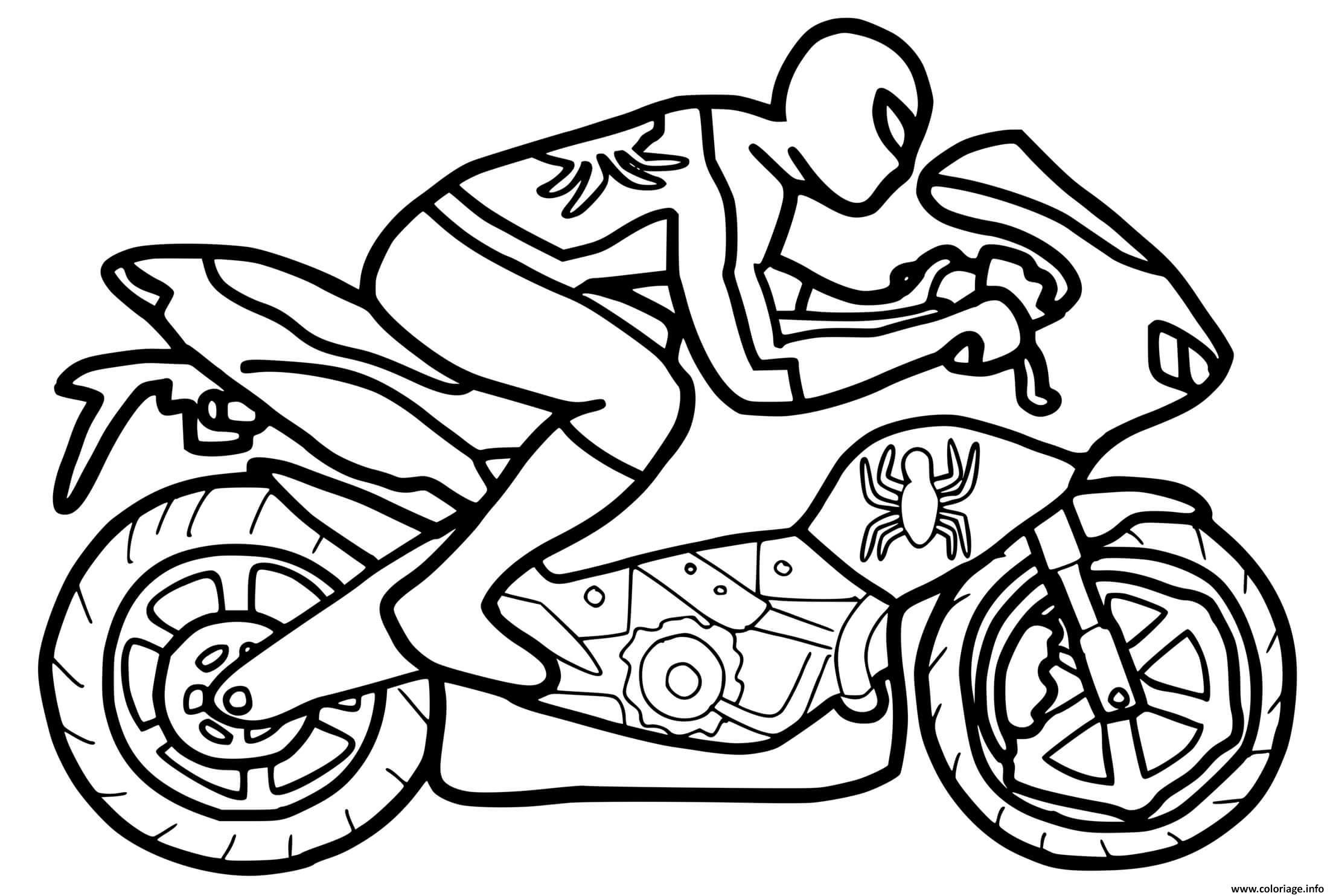 Dessin moto spiderman vitesse Coloriage Gratuit à Imprimer