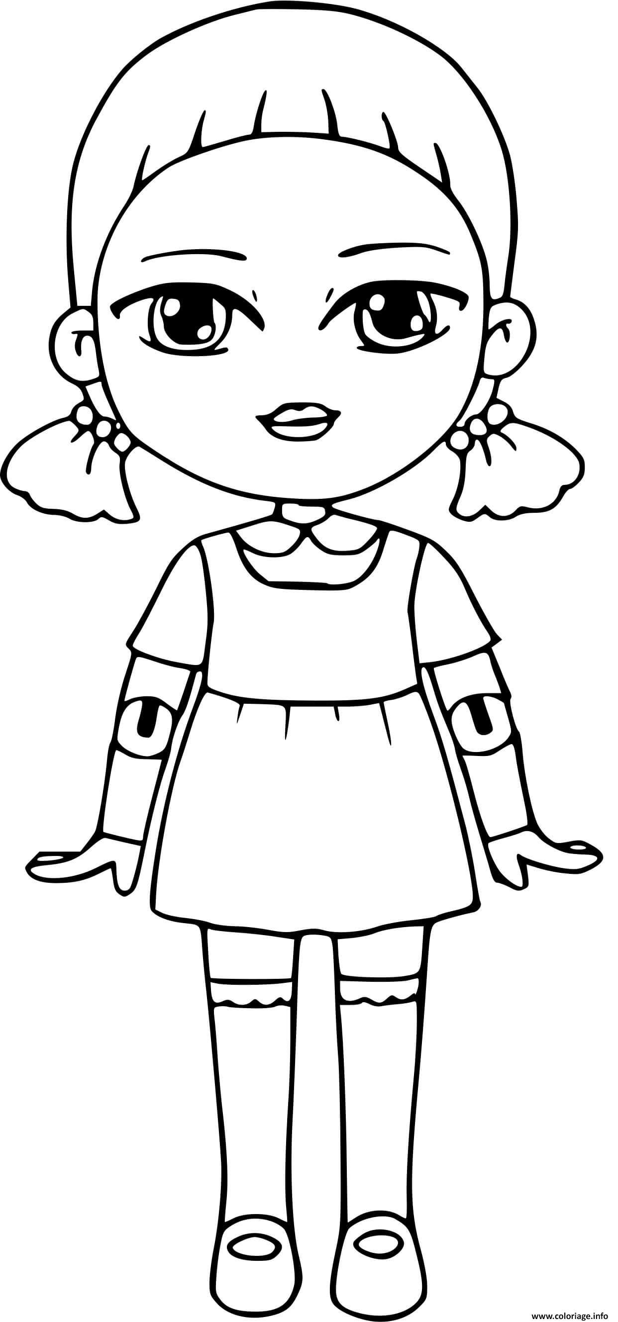 Dessin squid game red light green light doll Coloriage Gratuit à Imprimer