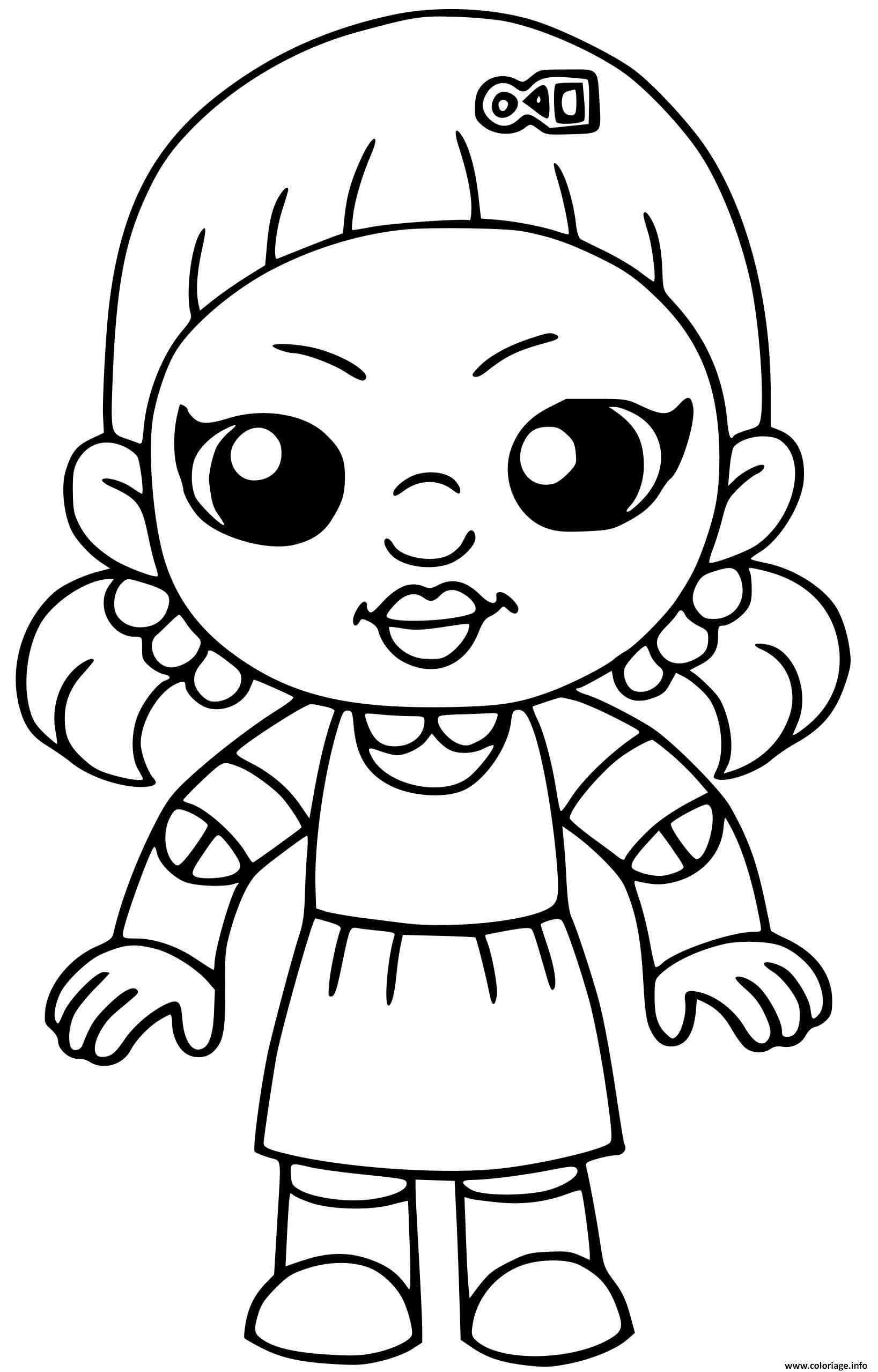 Dessin squid game doll red light green light Coloriage Gratuit à Imprimer