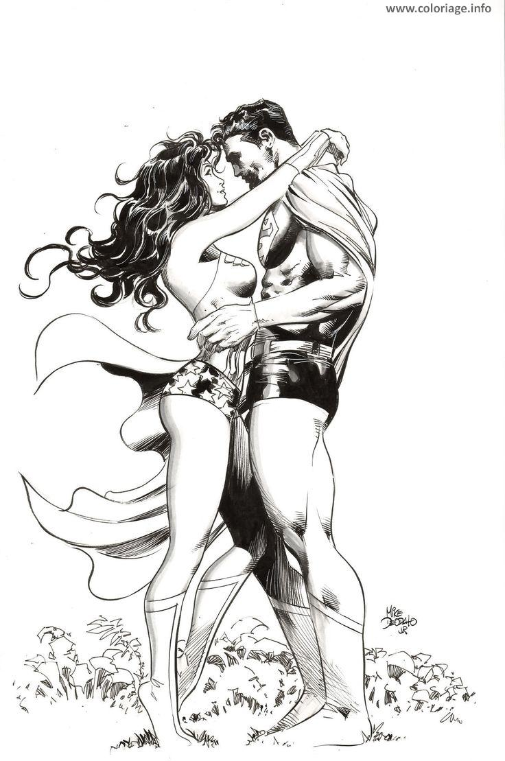 Coloriage wonder woman en amour avec super man dc comics - Coloriage dc comics ...