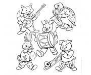 animaux jouent de la musique dessin à colorier