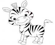 de bebe zebre rigolo dessin à colorier