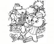 loup et cochons dessin à colorier