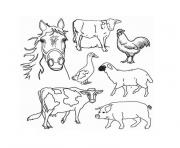 ferme et animaux dessin à colorier