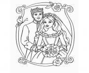 mariage barbie et ken dessin à colorier