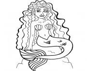 barbie la sirene dessin à colorier