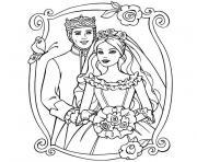 barbie se marie dessin à colorier