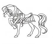 Coloriage cheval au galop dessin
