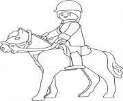 playmobil a cheval dessin à colorier