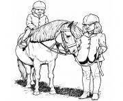 chevaux de course dessin à colorier