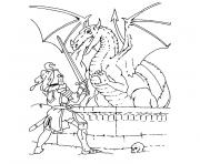Coloriage chevalier et dragon