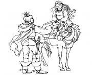 chevalier et princesse dessin à colorier