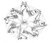 mandala de chevaux dessin à colorier