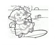 dora a la mer dessin à colorier