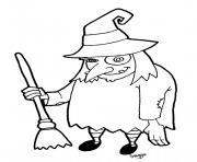 halloween de sorciere dessin à colorier