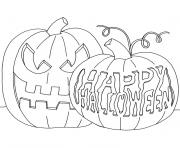 Coloriage citrouilles decorees happy halloween