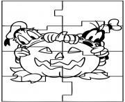 halloween en puzzle dessin à colorier