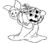 Coloriage chapeau et citrouille amusante pour Halloween dessin