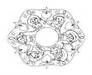 Coloriage mandala noel etoile dessin